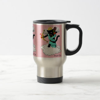 Valentine's Day Coal Black Cupid Cat Travel Mug