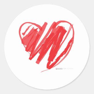 Valentines Day Crayon Heart - mom children love Classic Round Sticker