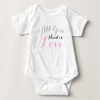 Valentine's Day Cursive All You Need is Love Baby Bodysuit