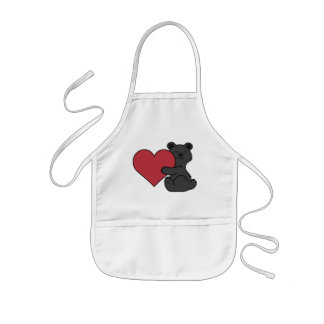 Valentine's Day Cute Black Bear Cub with Red Heart Kids Apron