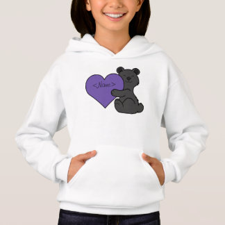 Valentine's Day Cute Black Bear with Purple Heart