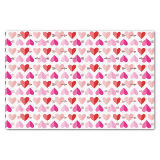 Valentine's Day Cute Hearts & Arrows Pink & Red Tissue Paper