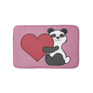 Valentine's Day Cute Panda Bear with Red Heart Bathroom Mat