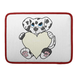 Valentine's Day Dalmatian Dog with Cream Heart Sleeves For MacBook Pro