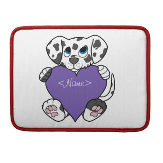 Valentine's Day Dalmatian Dog with Purple Heart Sleeve For MacBook Pro