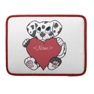 Valentine's Day Dalmatian Dog with Red Heart MacBook Pro Sleeves