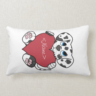 Valentine's Day Dalmatian Dog with Red Heart Pillows