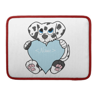 Valentine's Day Dalmatian with Light Blue Heart MacBook Pro Sleeves