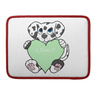 Valentine's Day Dalmatian with Light Green Heart Sleeves For MacBook Pro