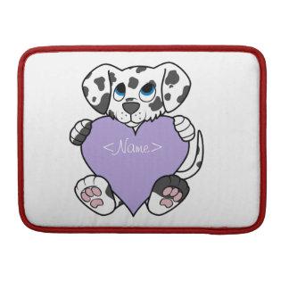 Valentine's Day Dalmatian with Light Purple Heart MacBook Pro Sleeve