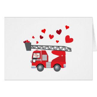 Valentine's Day Firetruck Hearts Gift Kids Boys Card