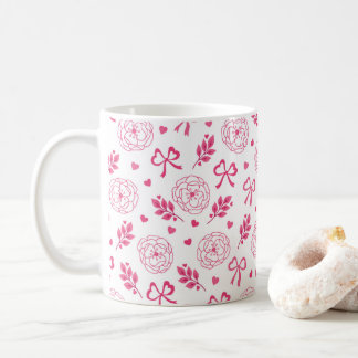 Valentine's Day Flowers Ribbon Hearts Pink Coffee Mug