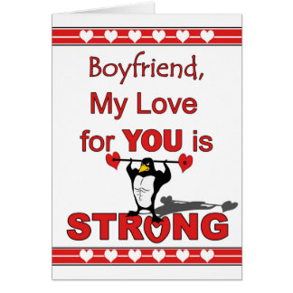 Valentine's Day for Boyfriend, Penguin and Weights Card