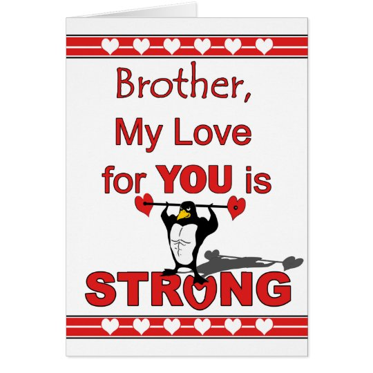 Valentine's Day for Brother, Penguin and Weights Card