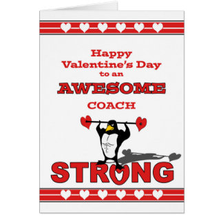 Valentine's Day for Coach, Weightlifting Penguin Card