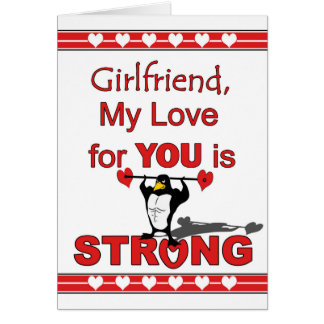 Valentine's Day for Girlfriend, Penguin & Weights Card