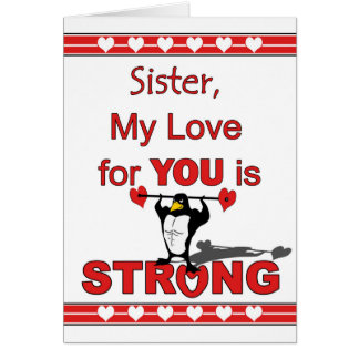 Valentine's Day for Sister, Penguin Abs & Weights Card