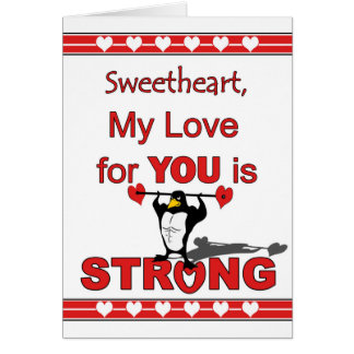 Valentine's Day for Sweetheart, Penguin & Weights Card