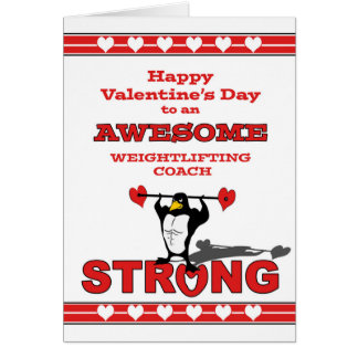 Valentine's Day for Weightlifting Coach, Penguin Card