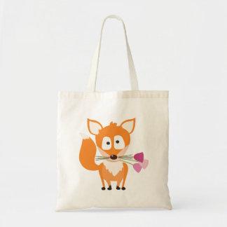 Valentine's Day Fox Tote Bag - Foxy Flowers
