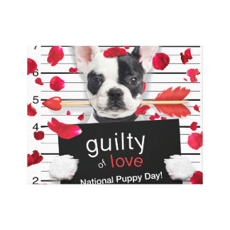 Valentine's day french bulldog canvas print