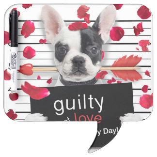 Valentine's day french bulldog dry erase board