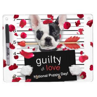 Valentine's day french bulldog dry erase board with keychain holder