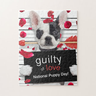 Valentine's day french bulldog jigsaw puzzle