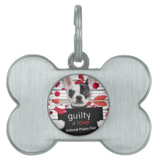 Valentine's day french bulldog pet ID tag