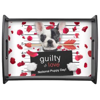 Valentine's day french bulldog serving tray
