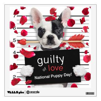 Valentine's day french bulldog wall sticker