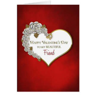 VALENTINE'S DAY - FRIEND-RED/WHITE/HEART/ROSES CARD