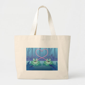 valentines day frog lovers large tote bag