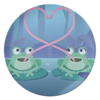 valentines day frog lovers plate