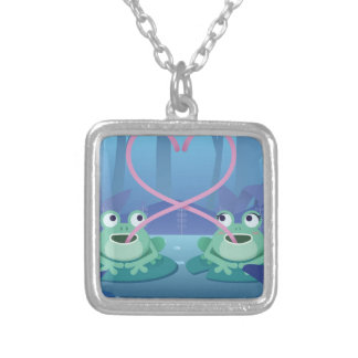 valentines day frog lovers silver plated necklace