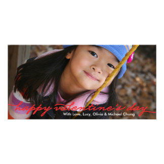 Valentine's Day Full Photo Script Red Photo Card Template