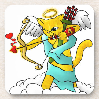 Valentine's Day Ginger Yellow Cupid Cat Coaster