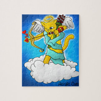 Valentine's Day Ginger Yellow Cupid Cat Jigsaw Puzzle