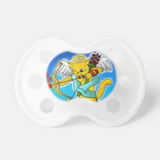 Valentine's Day Ginger Yellow Cupid Cat Pacifier