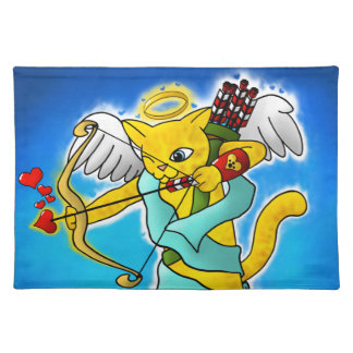 Valentine's Day Ginger Yellow Cupid Cat Placemat