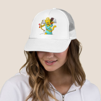 Valentine's Day Ginger Yellow Cupid Cat Trucker Hat