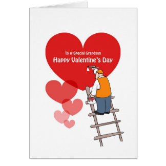 Valentine's Day Grandson Cards, Red Hearts Card