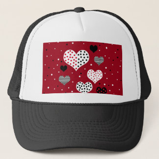 Valentine's day harts trucker hat