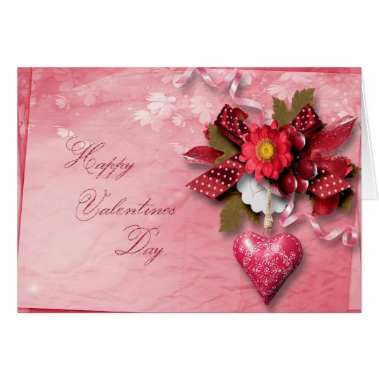 Valentine's Day - Heart Cluster Bow Card