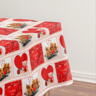Valentines' Day Heart Collage Tablecloth