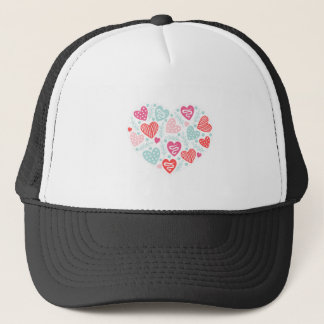 Valentine's Day Heart Pattern with Lines and Dots Trucker Hat