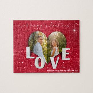 Valentine's Day Heart Photo Red Glitter - Puzzle