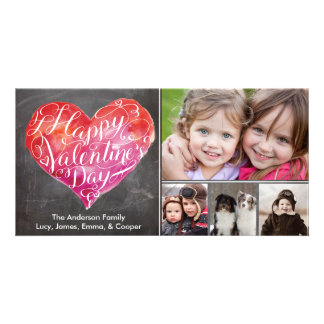 Valentine's Day Heart Script Chalkboard Photo Greeting Card