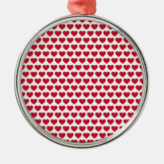Valentines Day Hearts Pattern Affordable Silver-Colored Round Ornament