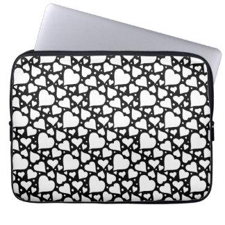 Valentine's Day Hearts Pattern. Custom BG Color! Laptop Sleeve